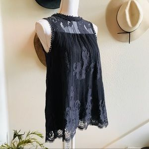 ALTAR'D state Gray high neck lace top blouse M